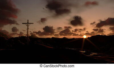 Jesus on Cross, timelapse sunset
