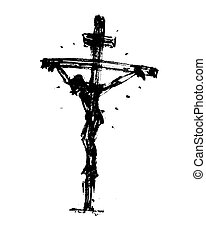 Jesus on the cross. Hand Drawn Sketch.