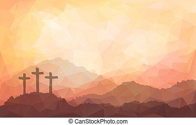 jesus, påsk, illustration, cross., vattenfärg, scen, christ.
