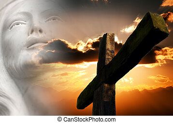 jesus passion - cross on sunset background and jesus christ...
