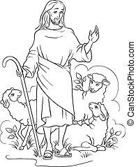 jesus, pastor, esboçado