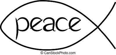 Illustration of a Jesus fish with Peace written inside, on a white background. Note: the word peace is drawn, not a font, so is ok for commercial use.