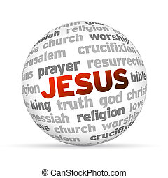 Jesus - 3d Jesus Word Sphere on white background.