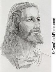 Jesus portrait - Grey pencils drawing of Jesus