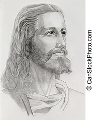 Jesus portrait - Grey pencils drawing of Jesus