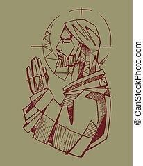 Jesus Praying - Hand drawn vector illustration or drawing of...