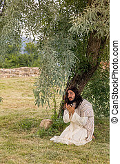 Jesus praying in gethsemane - Jesus in agony praying in the...