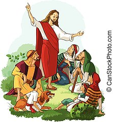 Jesus Preaches the Gospel - Vector christian illustration