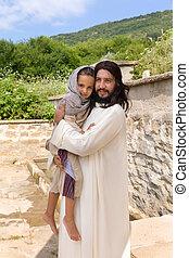 jesus, prendendo criança