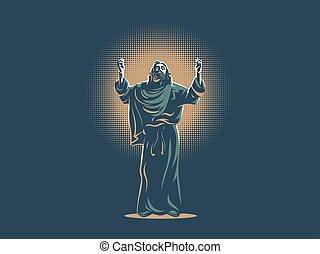 Jesus raised his hands in prayer.