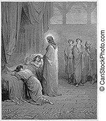 Jesus raises the daughter of Jairus from the dead - Picture from The Holy Scriptures, Old and New Testaments books collection published in 1885, Stuttgart-Germany.