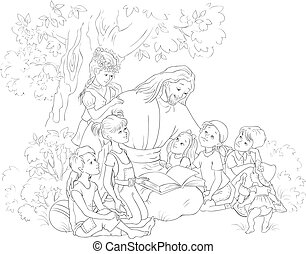 Jesus reading the Bible with Children coloring page