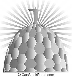 Vector illustration of the Jesus the Redeemer in Rio de Janeiro