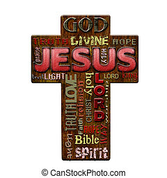 Jesus religion word cloud, retro style Easter background