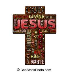 Jesus religion word cloud, retro style Easter background