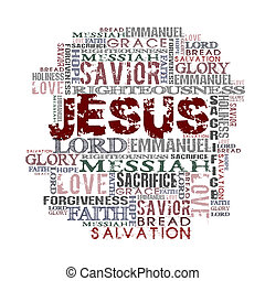 Jesus Religious Background - Religious Words isolated on...