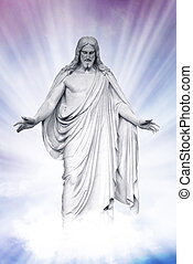 Statue of Jesus Christ on blue sky clouds background, Christianity concept