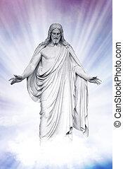 Jesus resurrected in heavenly clouds - Statue of Jesus...