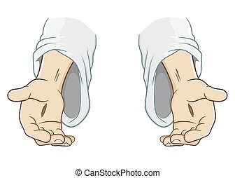 jesus, saída, christ, alcançar, mão