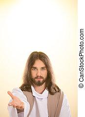 jesus, saída, ressucitado, mão, alcançar