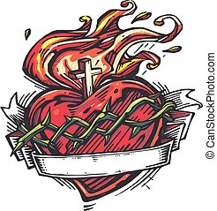 Jesus Sacred Heart e - Hand drawn vector illustration or...