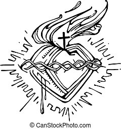 Jesus Sacred Heart g - Hand drawn vector illustration or...