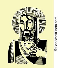 Jesus Sacred Heart - Hand drawn vector illustration or...