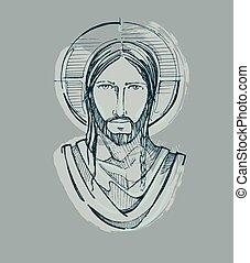 Jesus Serene Face d - Hand drawn vector illustration or...