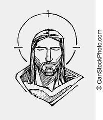 Jesus Serene face - Hand drawn vector illustration or...
