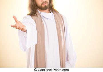 jesus, seu, saída, mão, alcançar