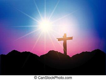 jesus, silueta, crucifixos, 1303