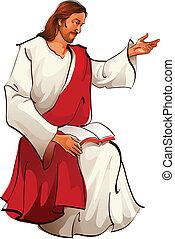 jesus, sittande, synhåll, kristus, sida