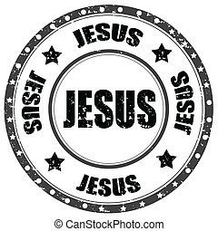 Jesus-stamp - Grunge rubber stamp with word Jesus,vector...