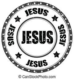 Jesus-stamp - Grunge rubber stamp with word Jesus,vector...