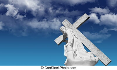 Jesus Carrying a cross with looping background.