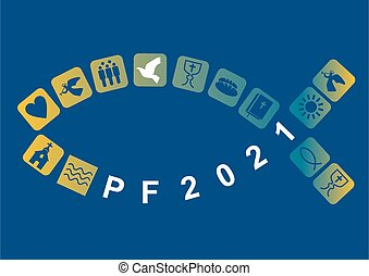 Pf card new year 2021 with fish and Stylized colorful christian icons on blue background. Vector available.