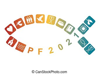 Pf card new year 2021 with fish and Stylized colorful christian icons. Vector available.