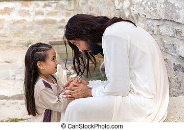 Jesus teaching a little girl - Biblical scene when Jesus...