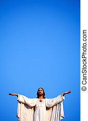 jesus, tegen, blauwe hemel