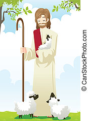 Jesus the shepherd - A vector illustration of Jesus with two...