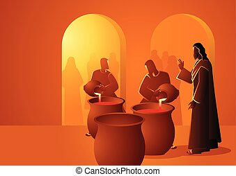 Biblical vector illustration series, Jesus turns water into wine
