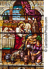 Jesus Turns Water to Wine at Cana Saint Peter and Paul...