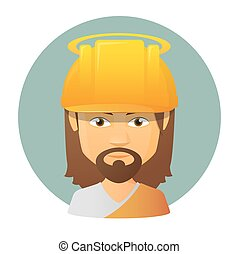 Jesus vector avatar wearing a work helmet