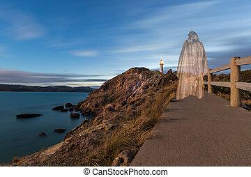 Jesus Walking to Lighthouse