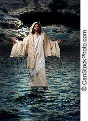 jesus, wandelende, op, de, water