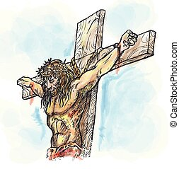jesus watercolor hand draw. illustration