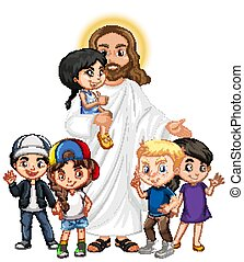 Jesus with a children group cartoon character