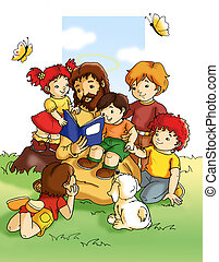 Jesus with children - colored illustration of Jesus that...