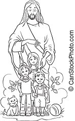 Jesus with children. Colouring page - Christian theme. Also...