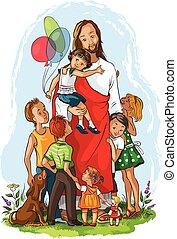 Jesus with children - Vector illustration